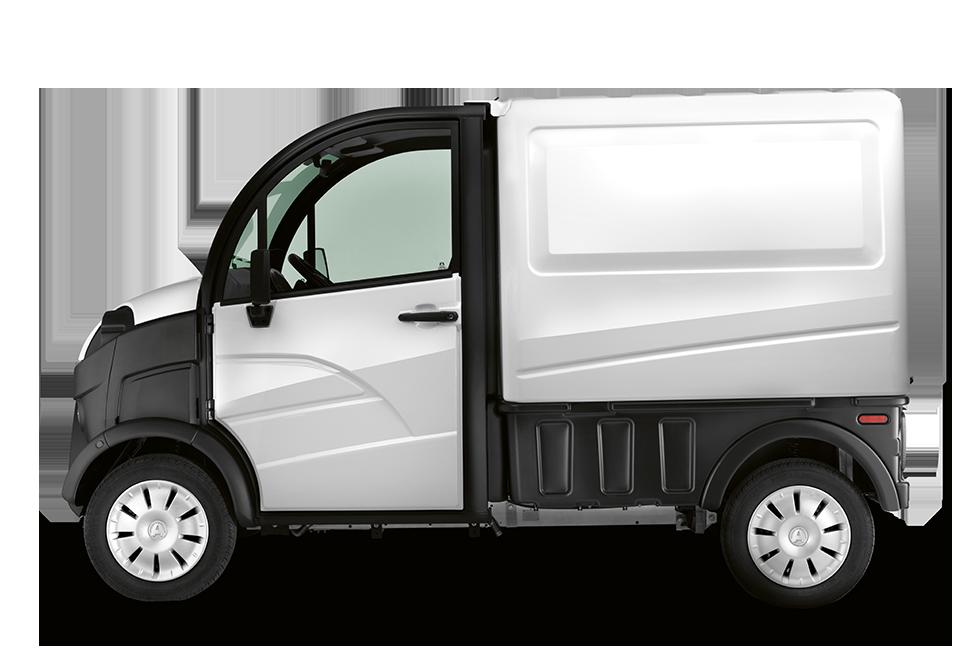 Aixam D Truck Van mit Box von der Seite